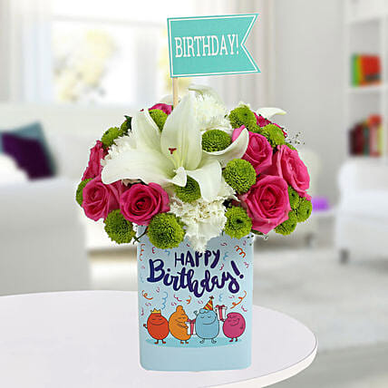 Happy Birthday Mixed Flowers Arrangement:Send Chrysanthemums
