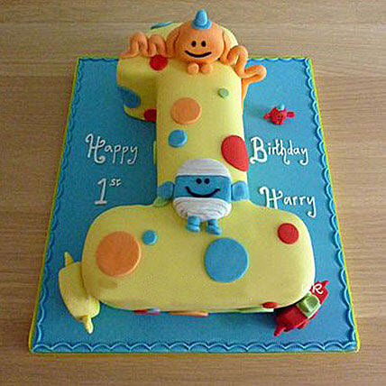 1st Birthday Number Cake 2kg:Alphabet N Number Cakes