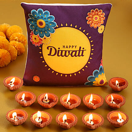 Buy Cushion with Diya Set