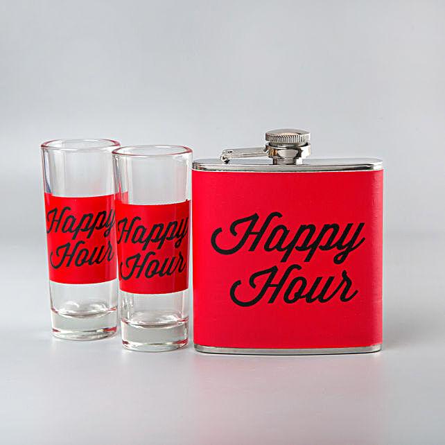 Happy Hour Red Flask Shot Glasses Set