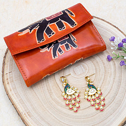 Happy Mothers Day Peacock Earrings And 2 Fold Wallet