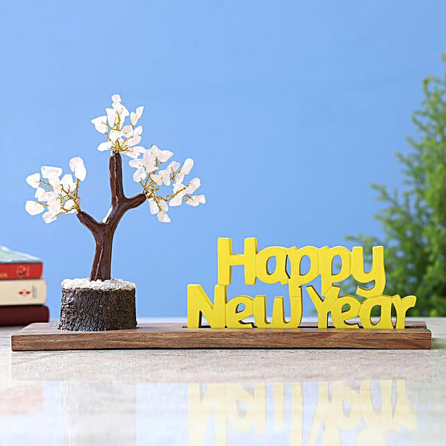 Happy New Year Table Top n Rose Quartz Stone Wish Tree