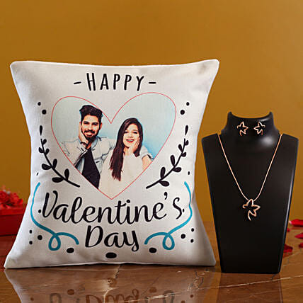 Happy V Day Personalised Cushion and Necklace Set Hand Delivery:Valentines Day Jewellery