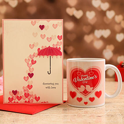 Happy Valentines Day Mug and Love Umbrella Card