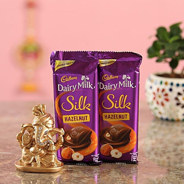 Hazelnut Chocolate Golden Ganesha Idol