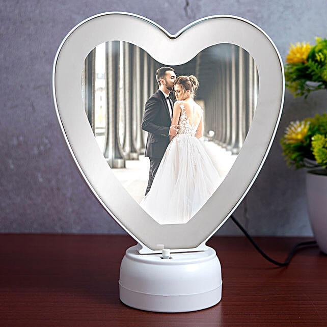 Heart Shape LED Magic Mirror Table Top Photo Frame