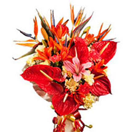 Hearteous Confession - Bunch of 5 birds of paradise, 6 red anthuriums,  3 orange and 2 pink asiatic lilies, 6 yellow carnations, 6 orange carnations with gorgeous contrast paper wrapping.