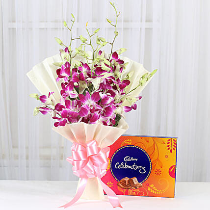 Cadbury celebration with blue orchids