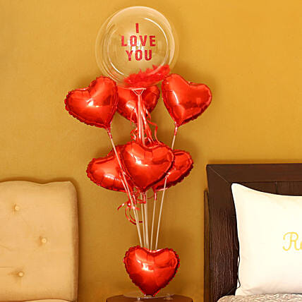 Hearty Love Balloon Bouquet:Valentines Day Balloon Decorations