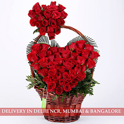Roses heart shape in basket arrangement