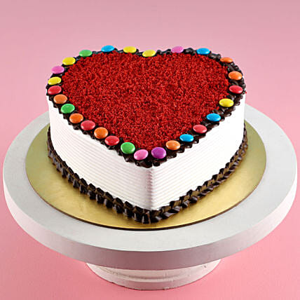 Heart Shaped Red Velvet Gems Cake:Red Velvet Cake Order