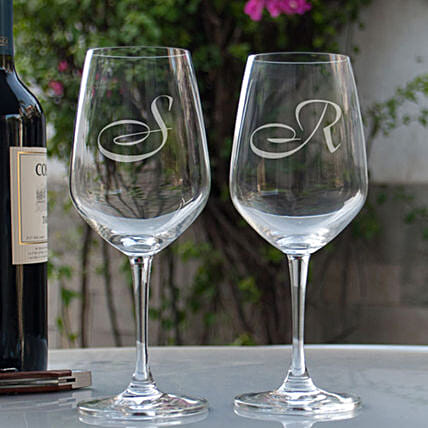 Name Initial Personalised Wine Glasses Online