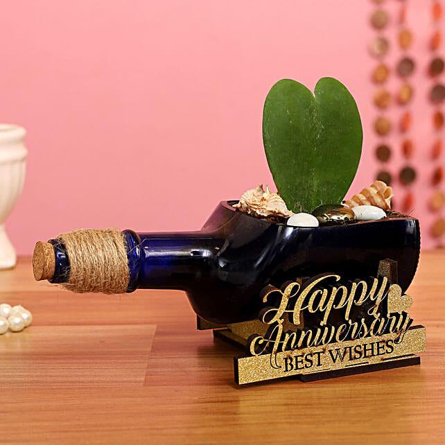 Hoya Plant In Happy Anniversary Antiquity Bottle Planter