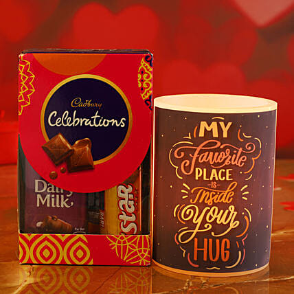Hug Day Special Hollow Candle Cadbury Celebrations Pack:Send Gifts for Hug Day