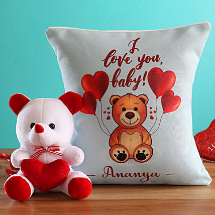 I Love You Baby Personalised Cushion and Teddy Hand Delivery