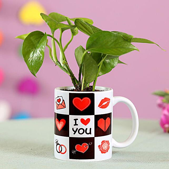 I Love You Mug With Money Plant