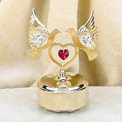 Swarovski golden base with double dove and heart