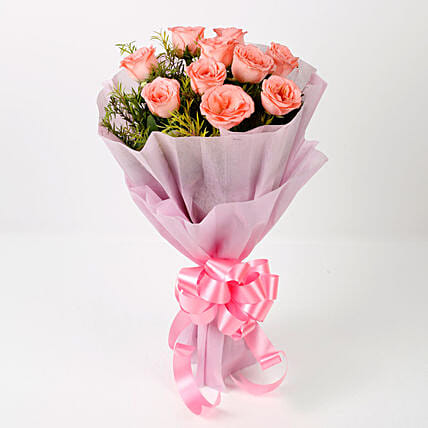 Impressive 10 Pink Roses Bouquet Gift Bunch Of 10 Pink Roses