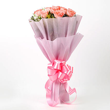Bunch of 10 pink roses womens day women day woman day women's day:Mothers Day Gifts Aligarh