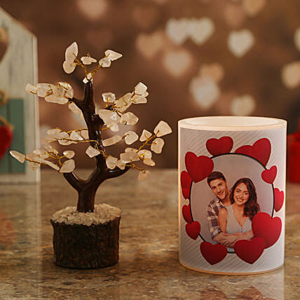 vday theme candle n wish tree online