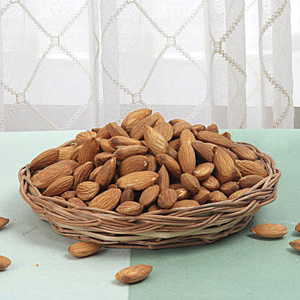 Basket full of almonds