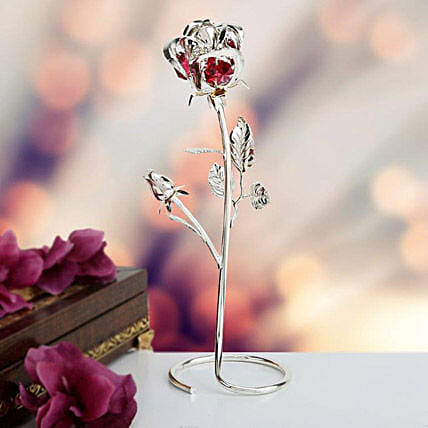 Swarovski golden rose stand:Gold Plated Gifts