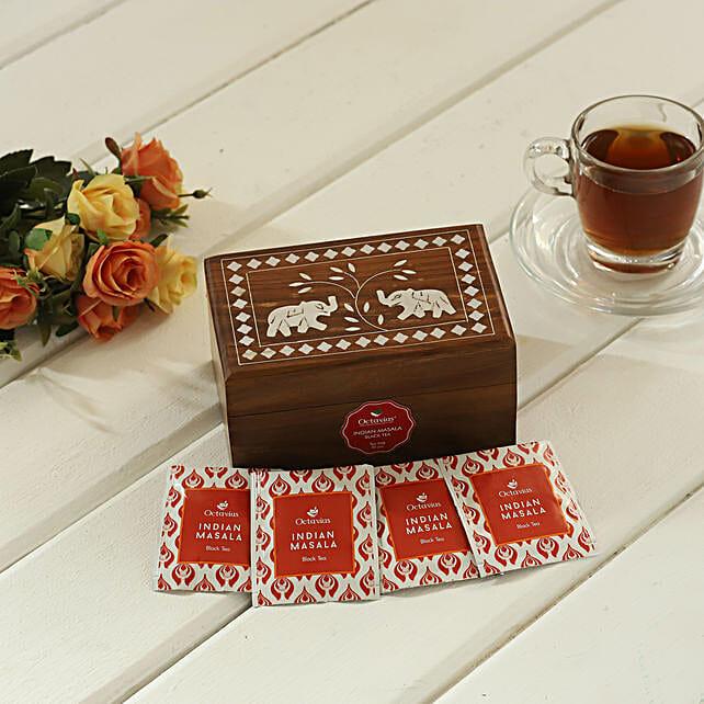 Indian Masala Tea Wooden Box:Doctors Day Gift Hampers