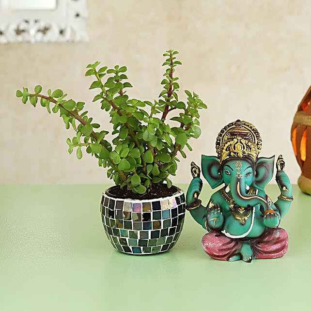 Jade Plant Handcrafted Ganesha Idol