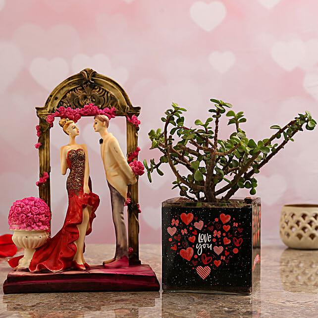 Jade Plant In Love You Vase & Couple Figurine
