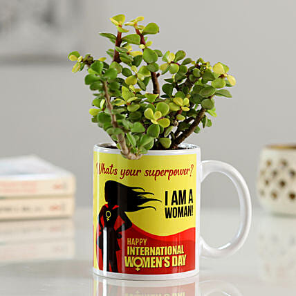 Indoor Plant In Mug For Women's Day:Send Womens Day Gifts for Mother