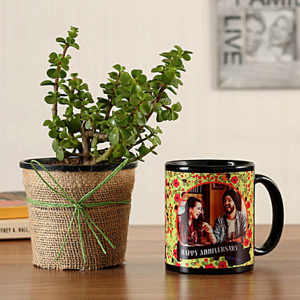 personalised mug with jade plant