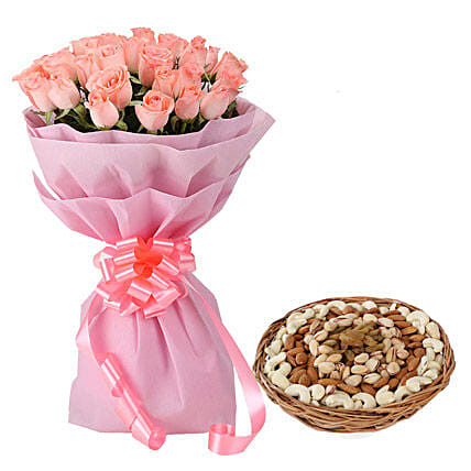Pink roses bouquet and dry fruits combo