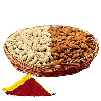 Cashew nuts, almonds, gulal hamper