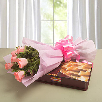 Just For You - Bunch of 6 Pink Roses with 500gm Kaju Katli.:Flower N Sweets