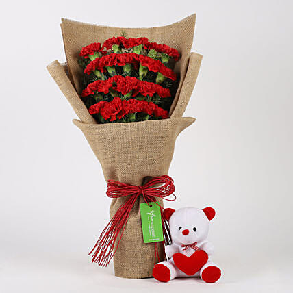 Carnations Bouquet and Teddy