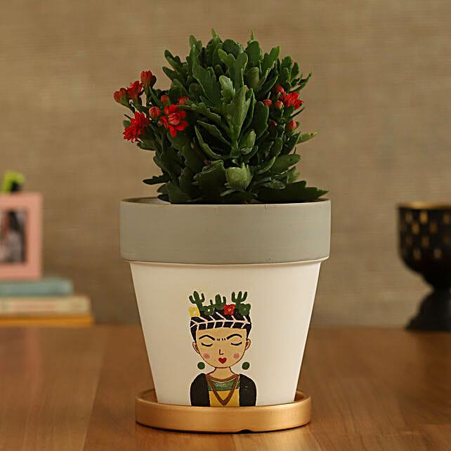 Kalanchoe Plant In Girl Printed Golden Plate Pot:Folk Art-planters