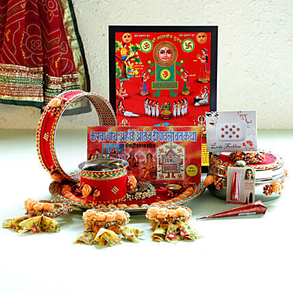 Karwa Chauth Special Floral Red Thali Set