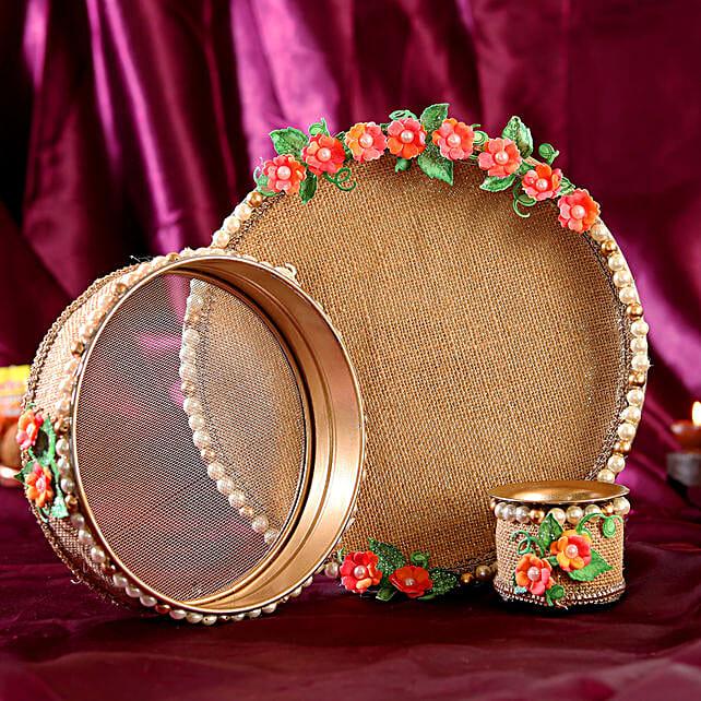 Karwa Chauth Thali Set- Jute & Pink Flowers