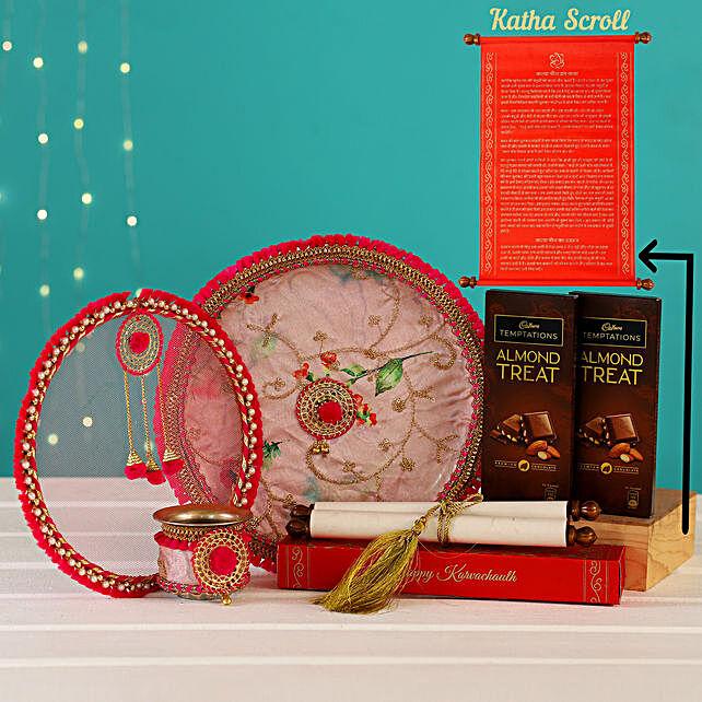 Karwa Chauth Thali Set With Chocolates Katha Scroll