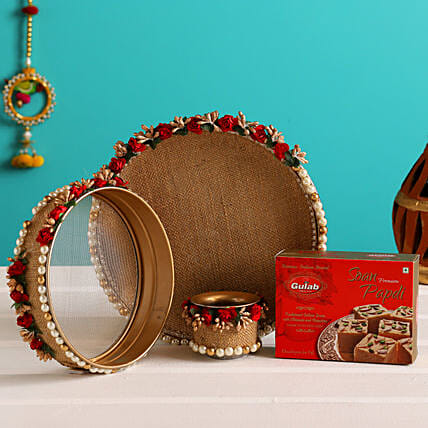 Karwa Chauth Thali Set With Soan Papdi