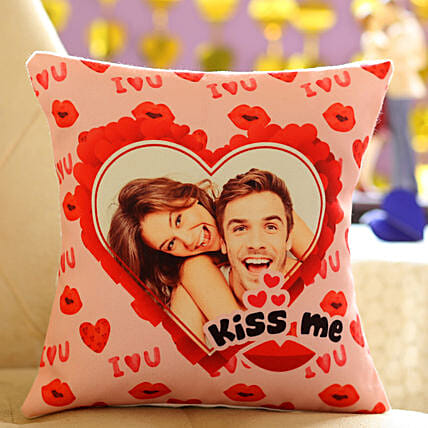 Kiss Me Personalised Cushion:Send Kiss Day Personalised Gifts