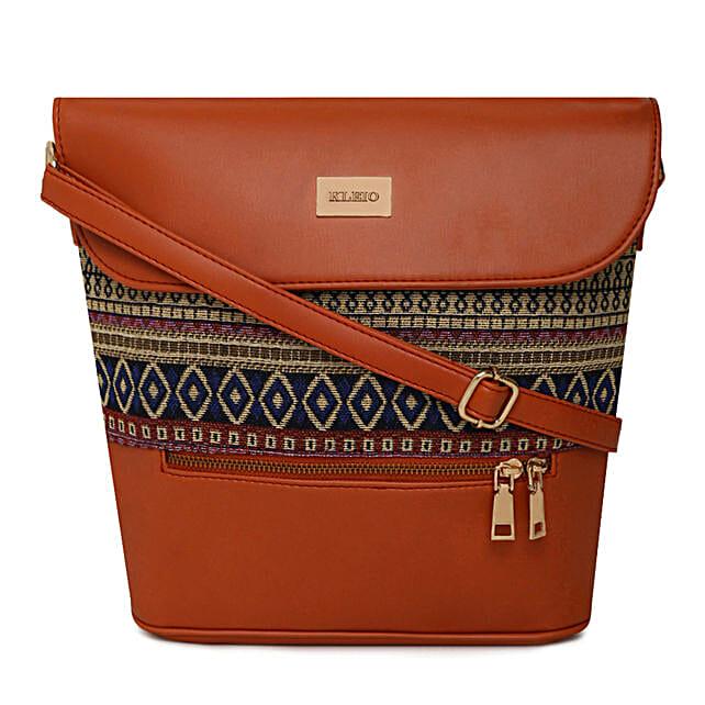 Online KLEIO Large PU Leather Jacquard Fabric Women Sling Hand Bag for Girls Ladies