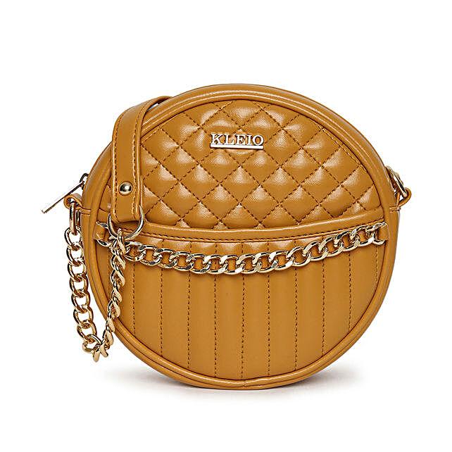 Online KLEIO Quilted Round Sling Bag For Women Girls (HO8013KL-MU_Mustard)