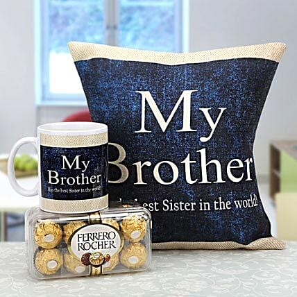 Combo of cushion, mug and chocolates for bro