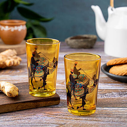 Kolorobia Camel Glory Chai Glass Set Of 2:Handmade Gifts