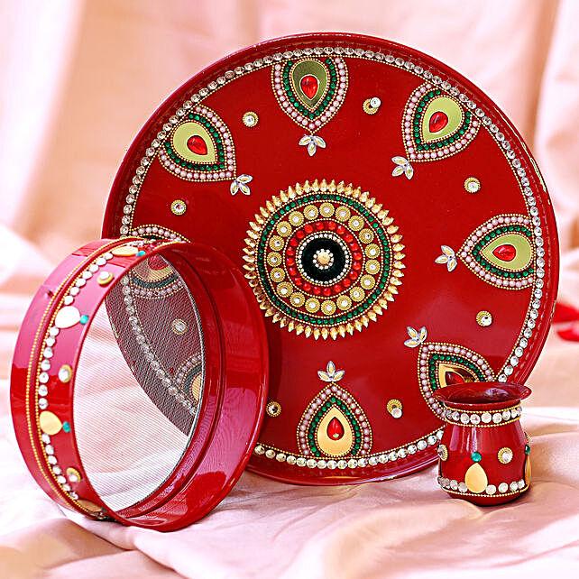 Kundan Craft Red Karwa Chauth Thali Set