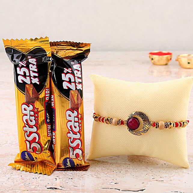 Kundan Rakhi & Chocolates Combo