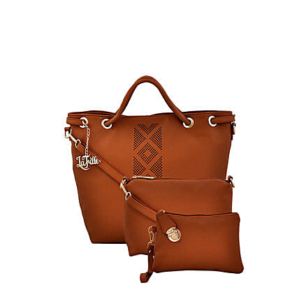 3 set of stylish tan colour handbag online