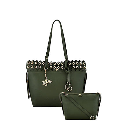 2 set of green handbag