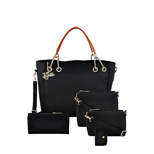 Online Voguish Black Hand Bag Set